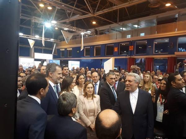 بازدید پادشاه و رئیس مجلس اسپانیا و دبیرکل سازمان جهانی گردشگری از غرفه ایران